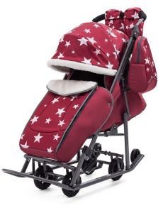 Санки - коляска ЗВЕЗДЫ цвет:бордовый