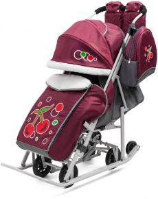 Санки - коляска РАДУГА цвет: бордовый