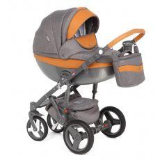 Детская коляска Adamex Monte Carbon 2 в 1 сolor D20 (темно-серая ткань с  коричневой кожей)