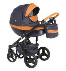Детская коляска Adamex Monte Carbon 2 в 1 color D4 (темно-синяя ткань с коричневой кожей)