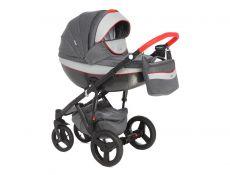 Детская коляска Adamex Monte Carbon 2 в 1 D5 (темно-серая ткань с серой кожей)