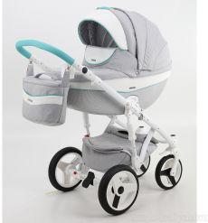 Детская коляска Adamex Monte Carbon 2 в 1 D30 (светло-серая ткань с белой кожей)
