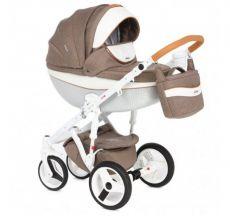 Детская коляска Adamex Monte Carbon 2 в 1 D34 (коричневая ткань с белой кожей)