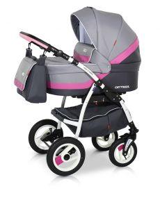 Универсальная коляска Verdi Optima 3в1 цвет 08 (серый с розовой вставкой)