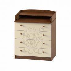 Комод детский ПВХ с рисунком 4 ящика (орех-ваниль)