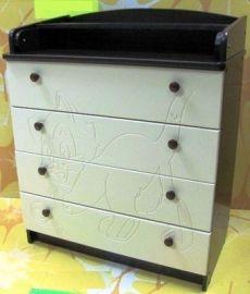 Комод детский ПВХ с рисунком 4 ящика (венге-ваниль)