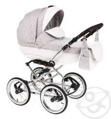 Детская коляска Adamex Katrina ЭКО 2 в 1 (белая кожа+светло-серый принт)