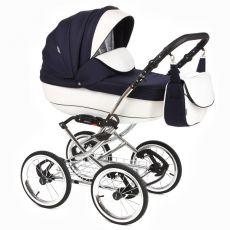 Детская коляска Adamex Katrina ЭКО 2 в 1( белая кожа+темно-синий принт)