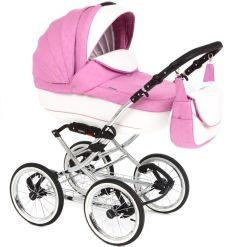 Детская коляска Adamex Katrina ЭКО 2 в 1( белая кожа+розовый принт)
