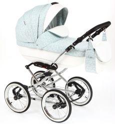 Детская коляска Adamex Katrina ЭКО 2 в 1( белая кожа+светло-зеленый принт)