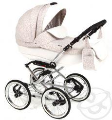 Детская коляска Adamex Katrina ЭКО 2 в 1( белая кожа+светло-бежевый принт)