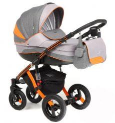 Коляска 3 в 1 Adamex Aspena Grand Collection, цвет: серый+оранжевый
