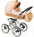 Детская коляска Adamex Katrina ЭКО 2 в 1( бежевая кожа+бежевый принт)